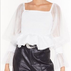 Nasty Gal white mesh sleeved peplum blouse
